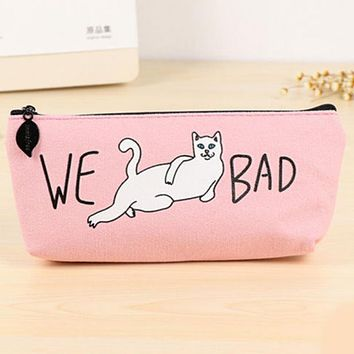 WE BAD Funny Cartoon Cat Makeup Pouch Cosmetic Bag Pencil Pen Case Zipper Makeup Brush Storage Bag