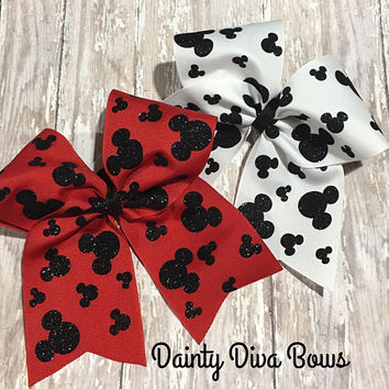 Disney Cheer Bow, Mickey Mouse, Mickey Head, Cheer Bow for Disney, Disney Gift, Gift for Cheerleader, Summit Bow, Bow for Cheerleader, Cheer