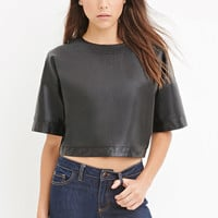 Faux Leather Boxy Top