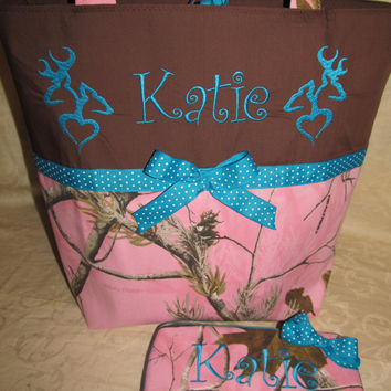 Custom handmade pink real tree camo camouflage he/she heart deer diaper bag and travel wipe teal dots you choose name