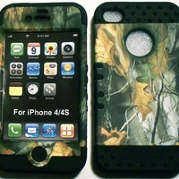 Camo Mossy Oak on Black Silicone Skin for Apple iPhone 4 4S Hybrid 2 in 1 Rubber Cover Hard Case fits Sprint, Verizon, AT&T Wireless:Amazon:Cell Phones & Accessories
