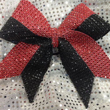 1 Black & Red Rhinestone Bling Cheer Cheerleading Dance Ribbon Bow