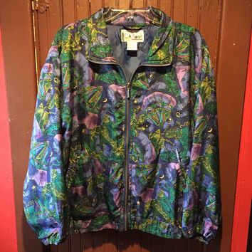 vintage 90s astrology chart lined silk windbreaker jacket in vibrant cool hues / medium