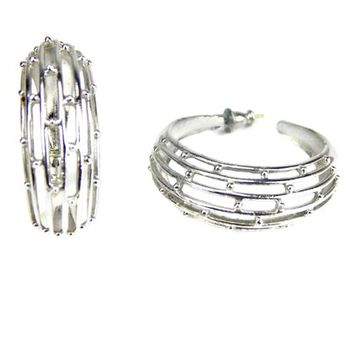 Wide Hoop Earrings Cut Out Silver Tone with Metal Beads Posts