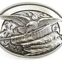 Nocona Bald Eagle and American Flag Silver Belt Buckle