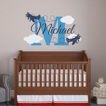 Airplane Name Wall Decal Boy- Personalized Name Decals For Boys- Baby Name Decal- Wall Decal Kids- Wall Decals Nursery Airplane Decor 052