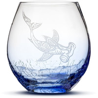 Crackle Blue Wine Glass with Tribal Hammerhead Shark, Hand Etched
