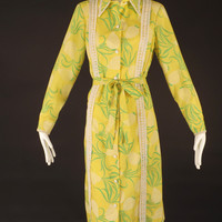 LILLY PULITZER-1970s Yellow Pineapple Print Dress, Bust-40