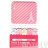 Large Eiffel Tower Print Travel Themed Memo Pad Post-it Index Sticky Bookmark Tabs in Pink   Cute Affordable Stationery