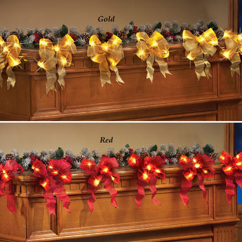 Lighted Holiday LED Garland-Choice of Colors-Red or Gold-Set of 6