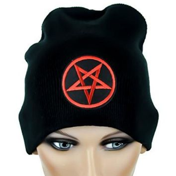 ac spbest Woven Red Inverted Pentagram Beanie Occult Black Metal Cap