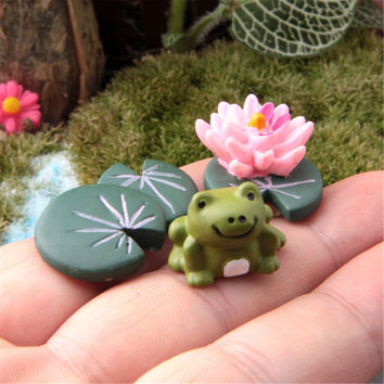 3Pcs Magic Fairy Garden Miniatures Set Cartoon Anime Frog & Lotus Leaf & Flower Micro Landscape DIY Figurines Crafts