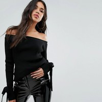 Boohoo Tie Cuff Bardot Sweater at asos.com