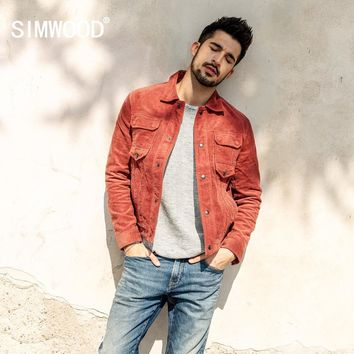 Trendy SIMWOOD 2018 Autumn Jacket Men Casual Fit Corduroy Coats For Men Fashion Long Sleeve Basic Single Breasted Brand Outwear 180300 AT_94_13