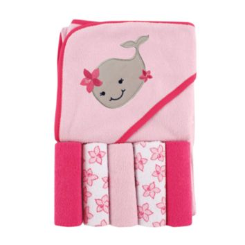 Pink Baby Hooded Towel and 5 Washcloths Gift Set