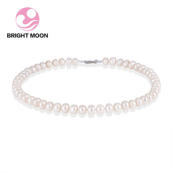Bright Moon Classic 100% Near Round 9-10mm Freshwater Pearl Necklace 925 Sterling Silver Clasp Necklace for women Wedding Gift