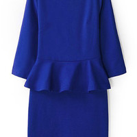 ROMWE Ruffle Crop Sleeves Blue Bodycon Dress