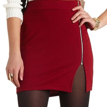 TEXTURED ZIP-FRONT MINI SKIRT