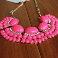 Hot Pink Statement Necklace, Jcrew Inpired Bib Jewelry,Free Gift Box Packaging Available