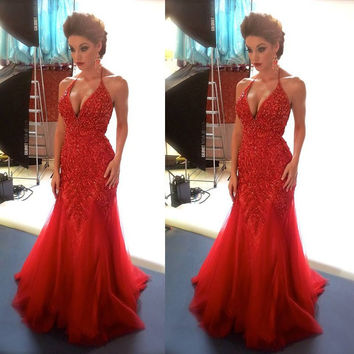 Sexy Mermaid Prom Dresses 2017 Vestido De Festa Shiny Sequined Beads Halter Neck Evening Dress Backless Red Long Evening Gowns