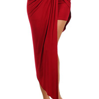 Sexy Wrapped Twisted Surplice Knot Detail Front Draped Asymmetric Hem Skirt