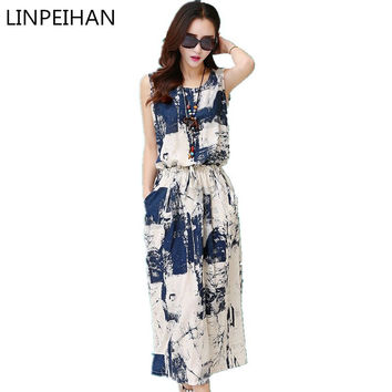 Vintage floral dress female  Women Summer Dress casual Cotton Linen Sleeveless elegant blue black Dress vestido