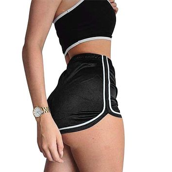 High Waisted Ladies Silk Shorts 2018 Summer Slim Fit Elastic Booty Shorts For Women Hot Sexy Pole Dance Shorts Pantalon Femme
