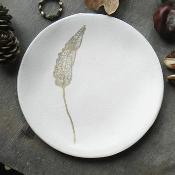Gold Leaf OOAK White Ceramic Ring Dish, White and Gold Pottery, Jewelry Dish, Home Decor, Porcelain Trinket Dish, Gift Idea for Her