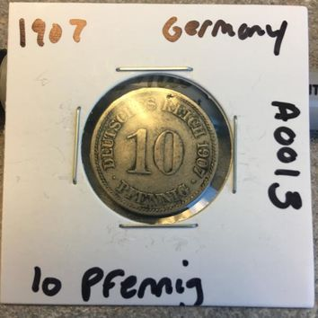 1907 German Empire 10 Pfennig Coin A0013