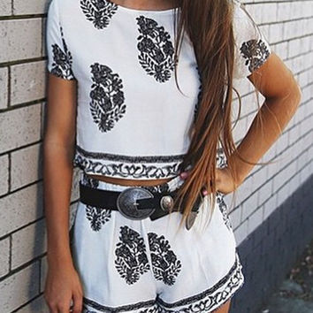 White Leaf Printed Crop Top With Shorts