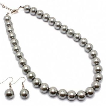 Lauryl's Synthetic Gray Pearl Single Strand Necklace Set