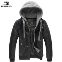 KENNTRICE Leather Jacket Male Motorcycle Jacket Polar Fleece HOOD Detachable PU Faux Leather Jacket Men Biker Jacket