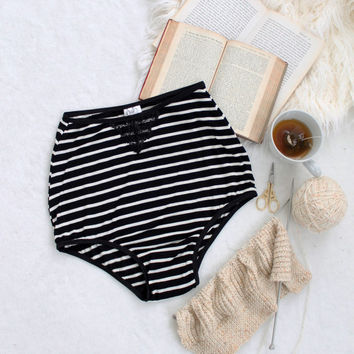 High Waist 'Graphite' Black and White Stripe Modern Panties with Black Lace Handmade in Canada by Ohh Lulu