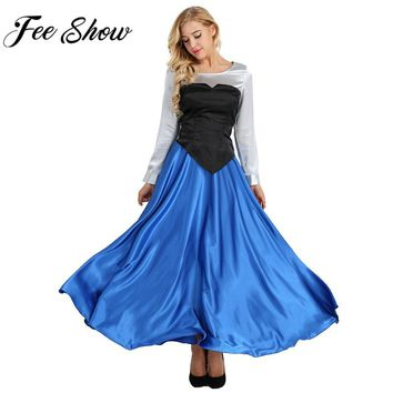 Feeshow The Little Mermaid Princess Cosplay Costume Women Adult Cosplay Costume Princess Party Dress Ball Gown Role Play Outfit