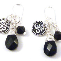 Om Earrings with Wire Wrapped Black Onyx and Swarovksi Crystal, yoga jewelry, yoga earrings, namaste jewelry