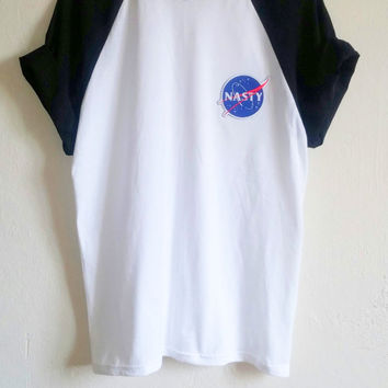 Baseball NASA-Nasty Tumblr Patch T-Shirt, grunge, hipster