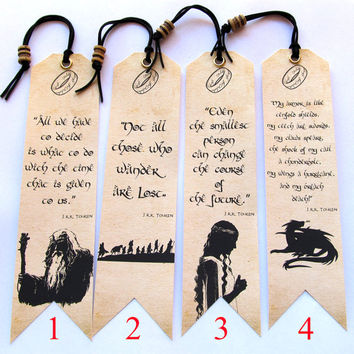Hobbit Bookmarks, 4 to choose from, Tolkien quotes, Unique bookmark Lord of The rings Handmade, Bookmark canvas print