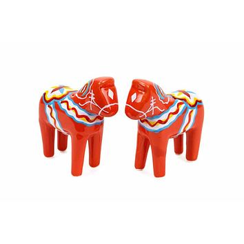 Swedish Dala Horse Red Salt and Pepper Shakers