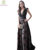 New Vintage Elegant Black Prom Dress Banquet Deep V-neck Sleeveless Lace Floor-length Party Gown Custom Formal Dress