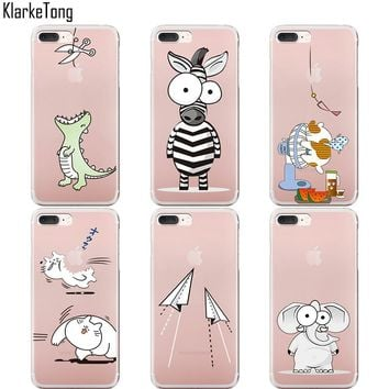 KlarkeTong Cute Animal Fly Horse Unicorn Elephant Phone Case Cover For iPhone 5 5s SE 6 6s 7 7Plus Transparent TPU Coque Capa