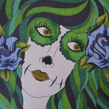 Green Sugar Skull Girl with Blue Roses Sharpie 9x12 Drawing Day of the Dead Art Dia De Los Muertos Alternative Gift Idea Origin