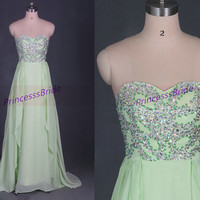 2014 long kelly chiffon prom dresses with crystals,chic cheap gowns for holiday party,stunning women dress in handmade hot.