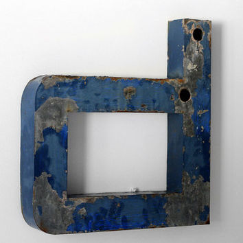 """Large Industrial Metal Letter """"p"""" or """"d"""" / Reclaimed Socialist Signage Advertising / Blue Salvaged Volumetric Letter / Romania - 60s"""