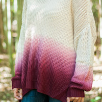 Uniquely You Sweater, Ivory/Burgundy