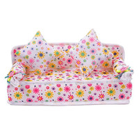 Chic Mini Furniture Flower Soft Sofa Couch With 2 Cushions Miniature Toys For Doll House,plastic dollhouse furniture