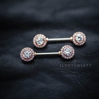 nipple ring, nipple piercing, nipple jewelry, nipple barbell silver zircon elagant 14g 14 gauge Rose Gold