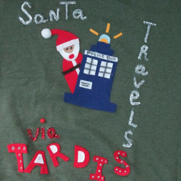 Small Medium Large Xlarge Ugly Christmas Sweater Santa travels via Tardis Dr. Who wants to win Ships in 48 hours or less