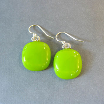 Lime Green Earrings, Dangle Fused Glass Earrings, Hypoallergenic, Lime Green Jewelry - Zelenka - 1954 -3