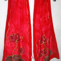 red silk scarf, Red Lotus scarf, silk scarf, fashion accessory, yoga accessory, metaphysical, spiritual, Goddess wear, meditation