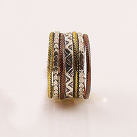 Three Tone Sterling Silver Aztec Tribal Stack Ring - keja Jewelry